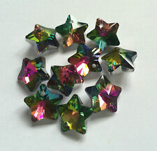 10 Rainbow Electroplated Star Shaped Faceted Glass Beads. Size 13x14.5x8mm.