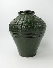 A Chinese Antique Green Glazed Earthenware Stoneware Jar Vase Pottery