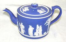 Antique 19thc Wedgwood Only Dark Blue Jasperware Teapot