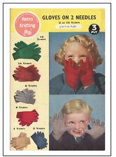 Children's Gloves 1940/50's Vintage Knitting Pattern