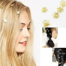 Chic New Young Girl Cute Gold Stars Swirl Spring Clip Hairpin Hair Accessory hot