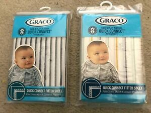 2 Graco Pack n Play PLAYARD Fitted Sheet 36x27 QUICK CONNECT Bennett Raleigh NEW