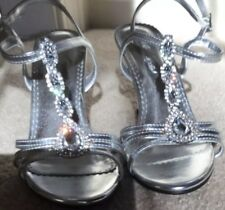 """""""Michaelangelo"""" Silver With Rhinestones Bridal Shoes Size 6.5M"""