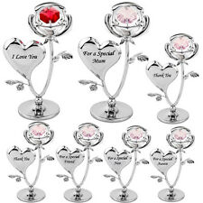 CRYSTAL ORNAMENT GIFT SET CRYSTOCRAFT WITH SWAROVSKI ELEMENTS STRASS ROSE FLOWER