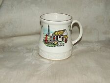 Carrigaline Pottery Irish MUG Cork Ireland Shamrocks Thatch Roof Cottage