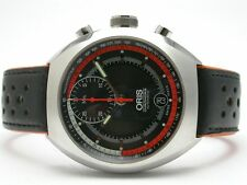 ORIS STAINLESS STEEL MENS WATCH BLACK DIAL WITH ORANGE ACCENT STYLE #7564