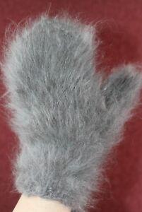 MITTENS 100% ANGORA RABBIT BUNNY thick soft white gray handmade