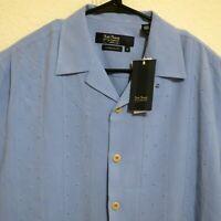 Nat Nast Mens Short Sleeve Front Button Camp Shirt Size Medium Silk Blue New