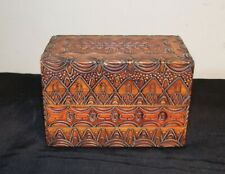 Wood Box for Playing Cards Vintage hinged intricately carved