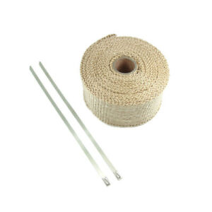Tan Exhaust Pipe Wrap Motorcycle Motorbike 50mm x 5 metres with cable ties