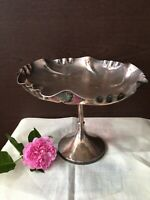 ANTIQUE SILVER PLATE PEDESTAL FOOTED BOWL DISH