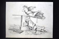 Incisione d'allegoria e satira Po, Croazia, Mincio Don Pirlone 1851