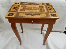More details for vintage inlay swiss music box table on high legs lador