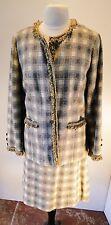 Vintage 1970s Pendleton Blue Gray, Brown & Cream Plaid Wool Skirt Blazer Suit 14
