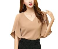 Butterfly Sleeve Blouse Women Tops Chiffon Shirt Loose Size Solid Elegant Simple