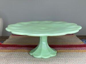 Martha Stewart By Mail Jadeite Green Scalloped Cake Stand