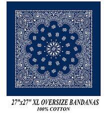 Grande Xl Azul paisley bandana 68.6cmsuper over-size pañuelo bufanda de cabeza