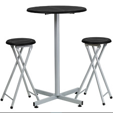3 Piece Modern Black home Bar and Pub Table Set with Stools Easy Folding Storage