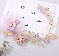 Women Wedding Bride Gold leaf Pink Flower Hair band head piece garland tiara