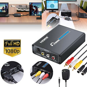 HDMI to 3RCA AV CVBS Composite & S-Video R/L Audio Converter Adapter Upscaler
