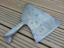 ANTIQUE FRENCH FORGED STEEL SOLID BUTCHERS MEAT CLEAVER CHOPPER - MARKED