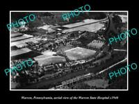 OLD LARGE HISTORIC PHOTO OF WARREN PENNSYLVANIA, AERIAL VIEW OF HOSPITAL c1940