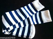 LADIES QUALITY SKI WELLY BOOT SOCKS SOFT THERMAL NAVY AND CREAM STRIPE DESIGN