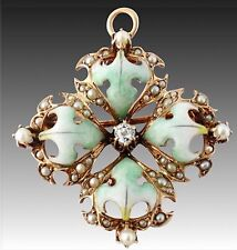 Antique Victorian 14K Gold Diamond Seed Pearl Enamel Leaf Brooch Pendant