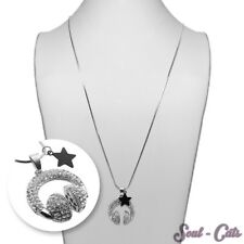 Necklace with Pendant Headphones Star Silver Black Rhinestone Stainless Steel