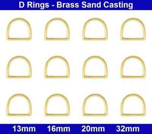 D Rings - 13mm, 16mm, 20mm, 32mm - Brass Sand Casting - Polished