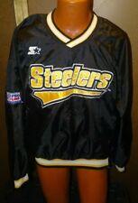 Vtg Pittsburgh Steelers NFL Starter Pro Line Pullover Lined Windbreaker L 90s