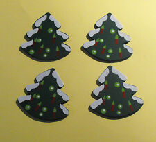 12 Flat Wooden Large Christmas Tree Card Topper Embellishments