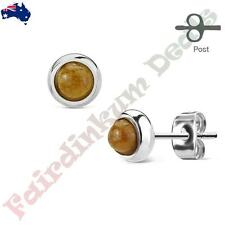 Pair of Bazeled Semi Precious Tigers Eye Stone 316L Surgical Steel Stud Earrings