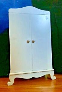White Wooden Doll Wardrobe Closet