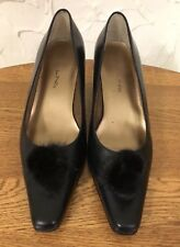 Bellini Black High Heels Pumps with Fur Puff Ball Size 7.5m