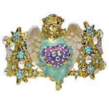 KIRKS FOLLY CELESTIAL ANGEL HEART CUFF BRACELET - goldtone