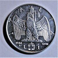 ITALIEN 1 Lire 1940 -Adler auf Liktorenbündel- fast StG/ near unc & Kapsel