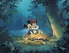 "Art Quality Canvas Print Anime Mickey Mouse Family Camp Out Home Decor 12""x16"""