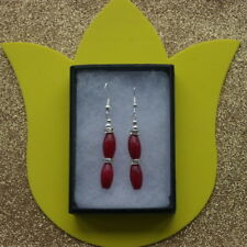 Beautiful Earrings With Indian Ruby And Diamantino 6 Gr. 4.2 Cm. Long + Hooks