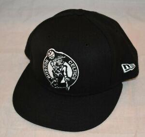 New Era Boston Celtics All Black NBA 7 1/4 Flat Bill