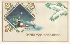 "Antique Embossed POSTCARD Church Moon Snow ""Christmas Greetings"""