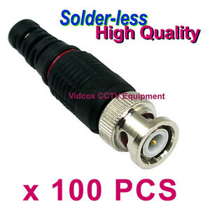 100 Solderless Coaxial RG58 RG59 BNC Connector Plug for CCTV Security Camera DVR