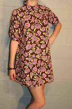 XS~S MOD BROWN PINK FLORAL VTG 60s BabyDoll DOLLY PUFF SLEEVE ULTRA MINI DRESS