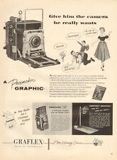 "1954 Graflex ""22"" & Pacemaker Graphic Camera with full Size 'Preview' PRINT AD"