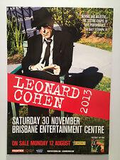 LEONARD COHEN 2013 Australian Tour Poster ***BRISBANE BEC ONLY***  A2 ***NEW***