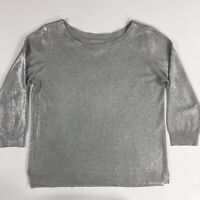 Banana Republic Womens Boat Neck 3/4 Sleeve Metallic Silver Sweater Size M