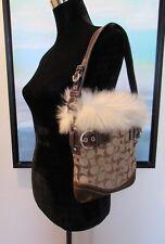 COACH Faux Fur Trimmed Signature C Canvas Shoulder Bag F052-8K47