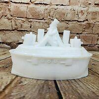 Antique 1898 EC Flaccus Milk Glass Mustard Dish Uncle Sam Battleship Boat Ship