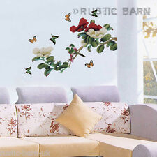 Red & White Flowers Butterfly & Bird Home Decor Vinyl Wall Sticker Art Decal