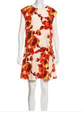 Thakoon Size 6 Overlay drape cream red Floral Silk Tunic Dress NWT